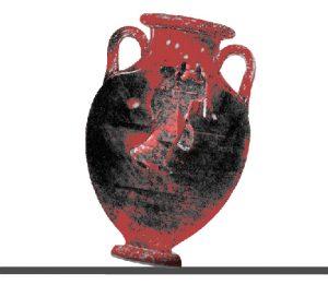 Tilted vessel on kiln shelf.